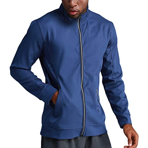 Mens Casual Zipper Patchwork Standing Lead Running Outdoor Training Fitness Coat by LuckyGirls