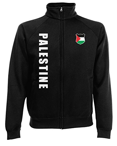 AkyTEX Palästina Palestine Sweatjacke Jacke Trikot Wunschname Wunschnummer (Schwarz, L)