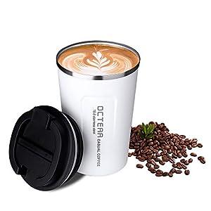 OCTERR マグカップ 保温 コーヒーカップ コンビニカップ 携帯マグ 保冷 タンブラー 真空断熱 ステンレス製 蓋付き 持ち運び 直接ドリップ プレゼントに 380ML ホワイト