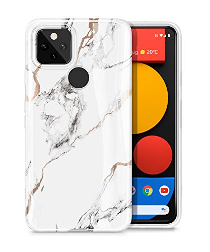 GVIEWIN Nature Series for Google Pixel 5 Case, Ultra Slim Thin Glossy Soft TPU Rubber Gel Marble Phone Case Cover for Google Pixel 5 5G (2020 Release) - White/Gold