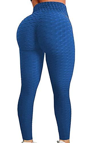 Pau1Hami1ton Leggins Mujer, Mallas Fitness Push Up Pantalones Deporte Running Yoga GP-11(Blue,M)
