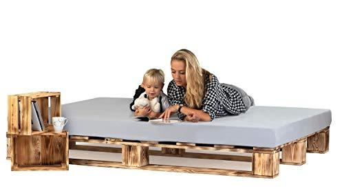 sunnypillow Palettenbett aus Holz Holzbett 140 x 200 cm Massivholzbett Bett aus Paletten Palettenmöbel Geflammt Vintage europalette