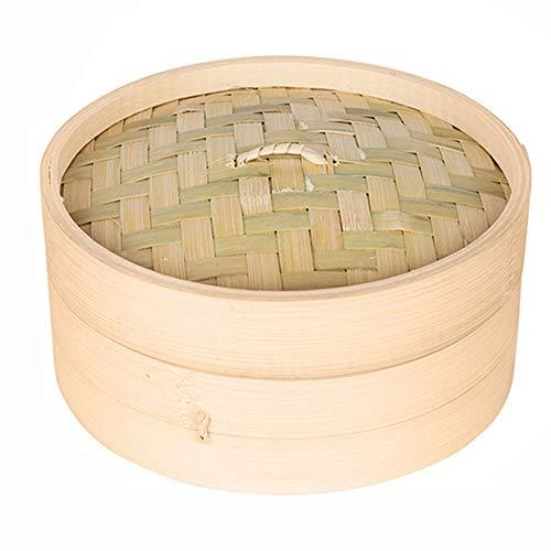 WHK Vaporera de bambú, Cocina para arroz, Dim Sum, albóndigas de Verduras Olla de Vapor de bambú 10/15/20 cm con Tapa Dimsum Cooker Set