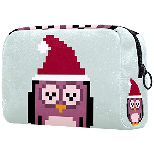 Vector Icon Of Cute Winter OwlSmall Maquillage Sac à main Voyage Maquillage Pochette Mini Sac Cosmétique pour Femme