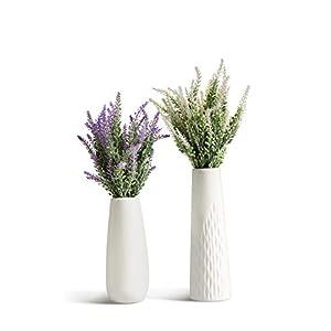 Silk Flower Arrangements Artificial Lavender Flowers Bouquet with Special White Ceramic Vases for Home, Party & Wedding Décor – Set of 2