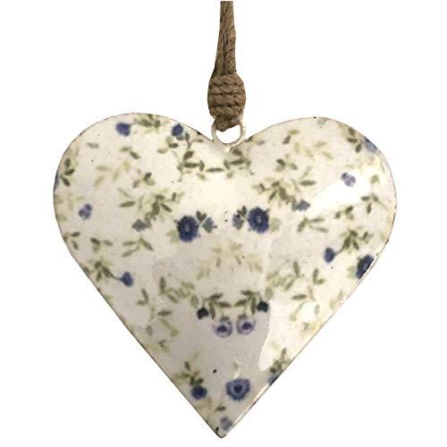 L'ORIGINALE DECO Cœur à Suspendre en Métal Fer Patiné Motifs Fleurs Blanc 12 cm x 12 cm