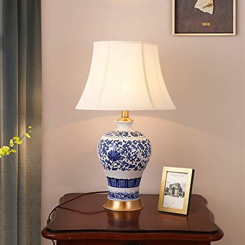YAN QING SHOP Lámpara de Mesa de Cobre Americano Escritorio de cerámica luz Sala de Estar Dormitorio Decorativo lámpara de Noche