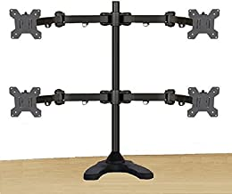 EZM Articulating Heavy-Duty Quad Monitor Mount Stand Free Standing with Grommet Mount Option Up to 27