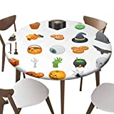 """Indoor Outdoor Polyester Fitted Tablecloth Cover Flannel Backed Lining Stretched to Fits up 45""""-56"""" Diameter Tables Halloween icon set Isometric set of Halloween vector icons for web design"""