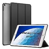 KENKE iPad Air 2019 ケース iPad Air3 10.5インチカバー 軽量 薄型 耐衝撃 放熱 三つ折りスタンド オートスリープ機能 傷防止 クリア 背面 保護ケース スマートカバー iPad Air3 10.5インチ 対応(ダークブラック)