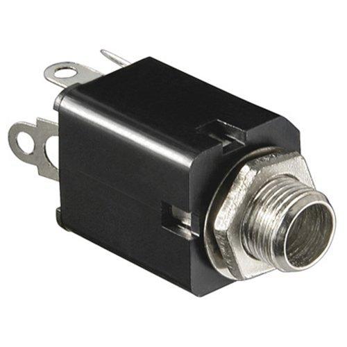 BestPlug Audio Mono Aux in Out 6,3mm Klinke Einbaubuchse Terminal weiblich 2pol, Schwarz