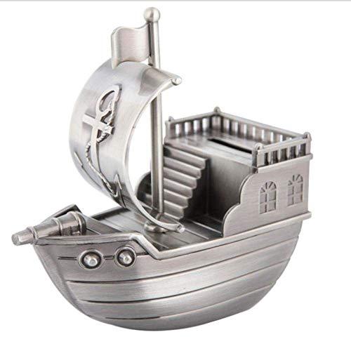 LYMUP Piratenschiff Form Sparschwein Geld sparen Metall Geld Bank Kinder Geld sparen Kiste for Dekoration Metall Handwerk