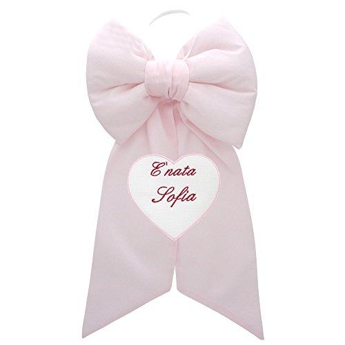 Chocolade geboortestrik met individueel hart - lieveheersbeestje met gepersonaliseerde naam Roze.