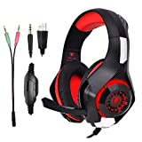 Gaming Headset für PS4 PC, Super Komfortable Stereo Bass 3.5mm LED Gaming Headphones with Microphone for Playstation 4 PC Headphones Laptop Mac Tablet und Smartphone (Rot)