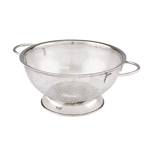 Tovolo Stainless Steel Colander With Looped Handles & Rimmed Footer Rust-Resistant Pasta Strainer & Veggie Wash, Food Prep Strainer Basket, 2 Quart