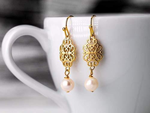 Orientalische Perlen-Ohrringe gold, vergoldeter filigraner Ohrhänger, rosa Muschelkern-Perle, Hochzeit, Braut, handmade Geschenk für Sie