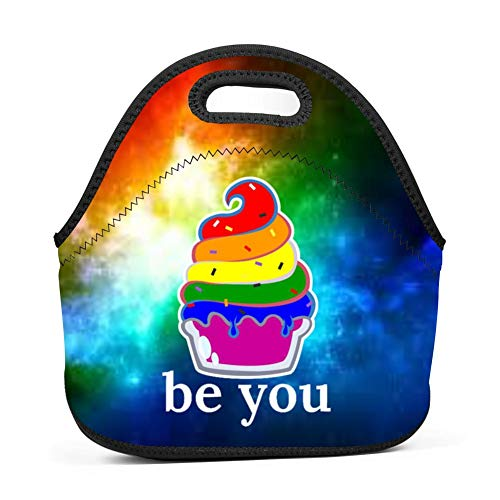 Guakes Insulated Lunch Box Gay Lesbian Parade Pride Ally Lunch Bags Insulated for Women Men Adult Girls Neoprene Cute Tote Waterproof Thermal Reusable Durable Boxes for Work Office Picnic Travel Mom