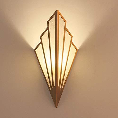 ZQH Europeo Retro Forma de Abanico Lámpara de Pared, Creativo Luz de Pared Candelabro de Pared Antiguo Pared de la Linterna Restaurante Bar Hotel Pasillo Corredor Decorativo Encendiendo,Oro,43 * 18cm
