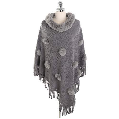 Pullover Aus Kaschmirimitat Aus Kaschmir mit Quastenponcho Cape Winter Warm Sweater Coat,Gray