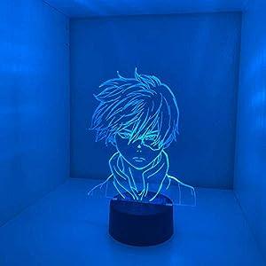 Anime My Hero Academia Shoto Todoroki Face Design Lamp Led Night Light for Kids Child Boys Bedroom Decor Acrylic Table Lamp Gift