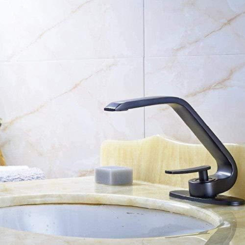Küchenarmatur C Gebogener Runder Badezimmer-Mischbatterie-Öl-Geriebene Bronzeplatte