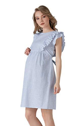 M.M.C. Theresa - Vestido de premamá a rayas con volante, de algodón, para embarazadas, para ocio, embarazadas, fiestas, manga corta hasta la rodilla azul 42
