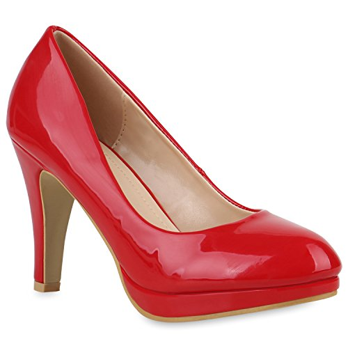 Klassische Damen Pumps Stiletto High Heels Lack Leder-Optik Schuhe 154356 Rot Amares 38 Flandell