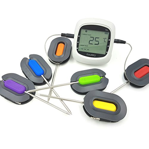 Perfect-Prime KW4066, Wireless 6-Channels with 6 Probes Home Chef BBQ Grill Cooking Thermometer for iOS & Android Mobile Applications