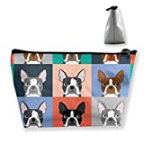 Regalo ideal – Boston Terriers Baldosa Bulldog Set Patrón Multifunción Trapezoidal Bolsa de almacenamiento Bolsa de cosméticos pequeña bolsa de maquillaje, bolsa de aseo portátil con cremallera