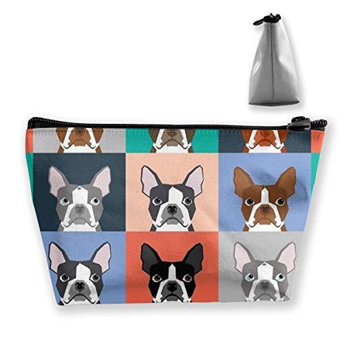 Frauen Kosmetiktasche Geräumige Aufbewahrungsbeutel Reisetasche Organizer, Boston Terriers Fliesen Bulldog Dog Set Muster Kulturbeutel für Make-up Pinsel Bilden Werkzeuge Schmuck Zubehör