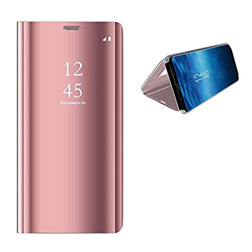 DGBAY Funda para Huawei Mate 20 Vista Inteligente, Lujo Carcasa Case Cover Espejo Clear View Standing Protector de Pantalla Plegable Flip de Cubierta con Ventanilla Despertar del Sueño (Mate 20 Rosa)
