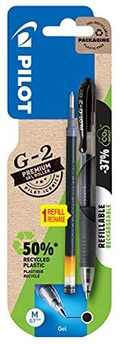Pilot Pen 2605001BM - Bolígrafo de gel G-2 recargable + 1 mina gratis, mina M 0,7 mm, color negro