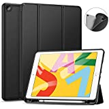 Ztotop Case for iPad 7th Generation 10.2 Inch 2019, Full Body Protective Rugged Shockproof Case with Pencil Holder, Trifold Stand with Auto Sleep/Wake Smart Case Cover for iPad 10.2 2019 - Black