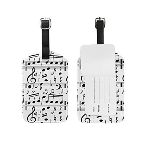 Music Notes Pattern Luggage Tag Baggage Labels Leather Custom for Kids Women Travel