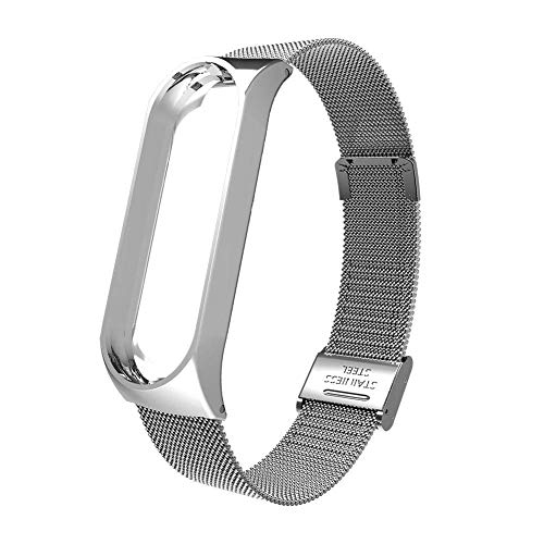 SSSabsir Smart Watch Buckle Wrist Strap Replacement Bracelet Stainless Steel for Xiaomi Mi Band 4 Watch Band Silver