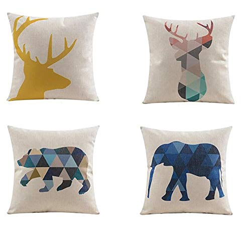 Blue BD 4X Animales nórdicos Triangular geométrica Abstracta Lino Abrazo Almohada sofá Lino Almohada cojín