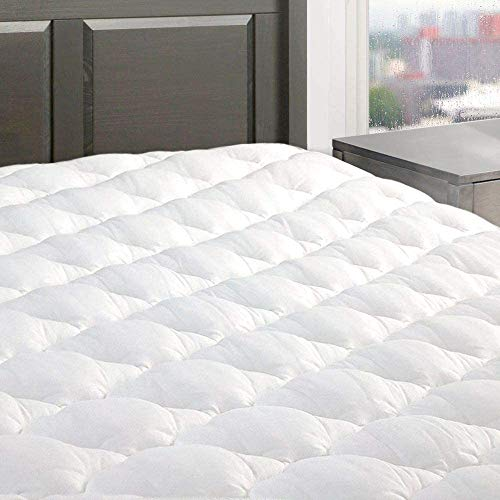 """eLuxurySupply Five Star Mattress Pad - Premium Extra Plush Mattress Topper w/Fitted Skirt - Down Alternative Pillow Top Mattress Cover Made in The USA Fits Mattresses Up to 18"""" - Twin XL"""