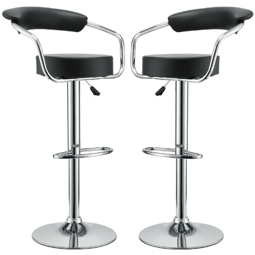 Modway Diner Vintage Modern Faux Leather Upholstered Two Adjustable Swivel Bar Stools in Black