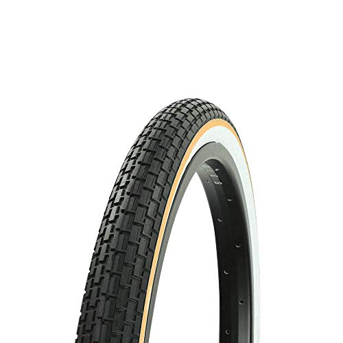 Fenix 20' x 1.75' Brick White Wall TIRE W/Yellow Line, for Lowrider, BMX, Mountain Bikes Bicycles