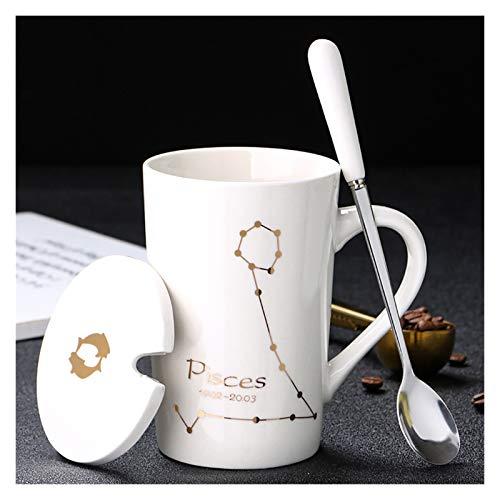 Taza De Agua De 12 Constelaciones Taza de cerámica Creativa con Tapa de la Cuchara Taza de café de la Leche del Zodiaco Negro y de Oro 420ml Bebida del Agua