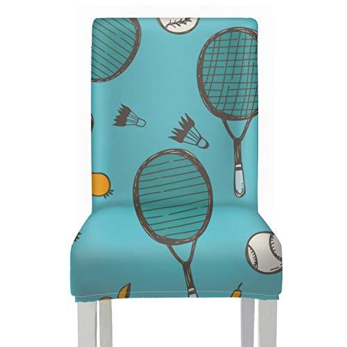 WYYWCY Funda de Asiento para Silla de Banquete Raqueta de bádminton y Raqueta de Tenis Fundas de Asiento Estampadas para sillas Poliéster elástico Fundas de Silla de Comedor Decorativas l