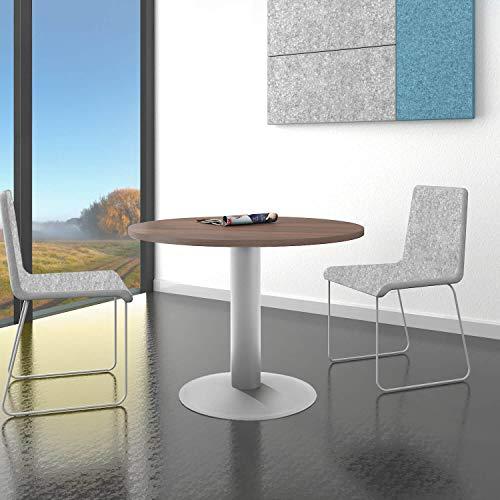 Optima runder Besprechungstisch Ø 100 cm Nussbaum Silbernes Gestell Tisch Esstisch