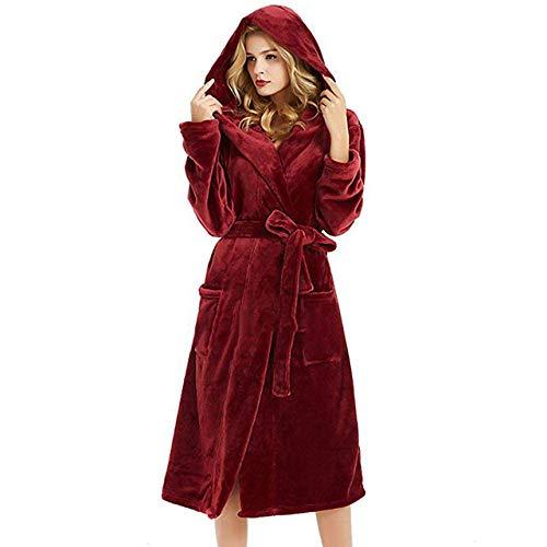 JBDGNZ Invierno Mujer Albornoz de Lana Sólido Manga Larga Bolsillo con Capucha Bata Suelta Ropa de Dormir Bata de bañoSalón Femenino Ropa de Mujer, Rojo Vino, XXXL