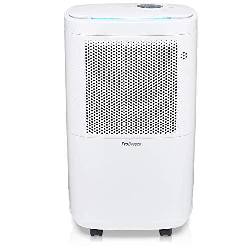 Pro Breeze Luftentfeuchter 12L in 24h Entfeuchtungsleistung - Raumgröße ca. 120m³ (~20 m²) - mit 4 Betriebsarten, Digitalanzeige, Ablaufschlauch, Wäschetrocknung, Timer - Gegen Feuchtigkeit, Schimmel