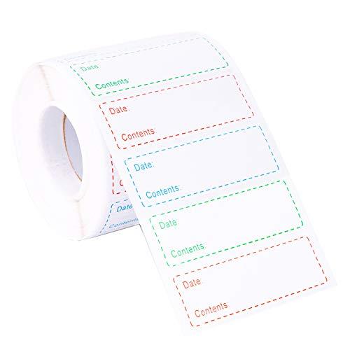1000 Pezzi Etichette Alimenti Etichette su Rotolo per Congelatore Johiux 75×25mm Cibo Stoccaggio Data Adesivi Etichette per Alimenti Autoadesivi.