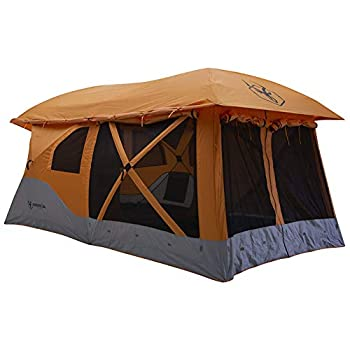 Gazelle T4 Plus Extra Large 4 to 8 Person Portable Pop Up Outdoor Shelter Camping Hub Tent with Extended Screened in Sun Room Orange