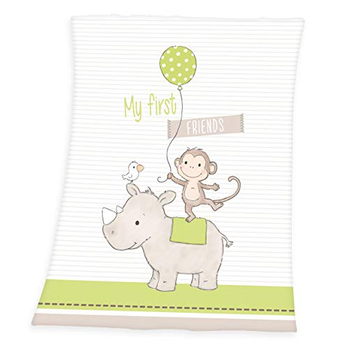 Herding Couverture pour Bébés, My First Friends, 75 x 100 cm, Polyester Tout Doux, Blanc/Vert