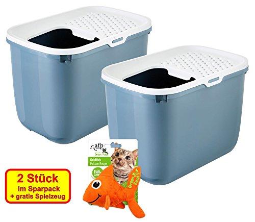 PETGARD 2er Sparpack Katzentoilette HOP IN Einstieg von Oben Bluestone mit gratis Spielzeug