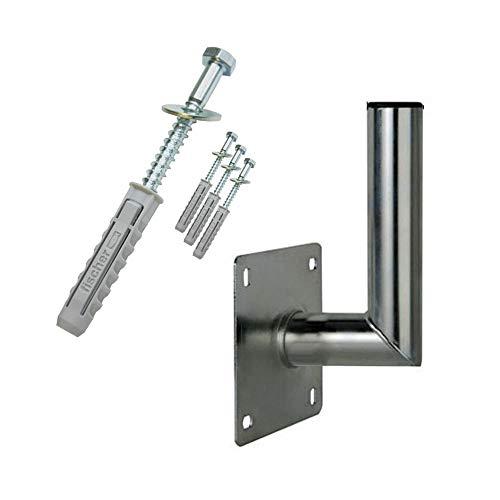 PremiumX 10-15cm Wandhalter Stahl Winkel Wand-Halterung für Satelliten-Antenne SAT-Schüssel Wandabstand 100-150mm Ø 48mm inkl. Schraubensatz mit Fischer Dübel für Wand-Montage