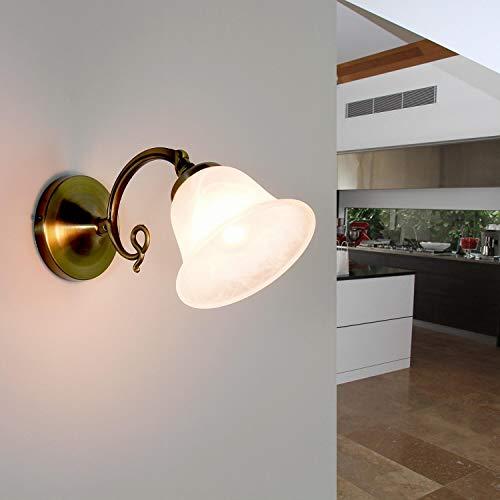 Applique murale d'intérieur style art nouveau avec verre albâtre E14 230 V